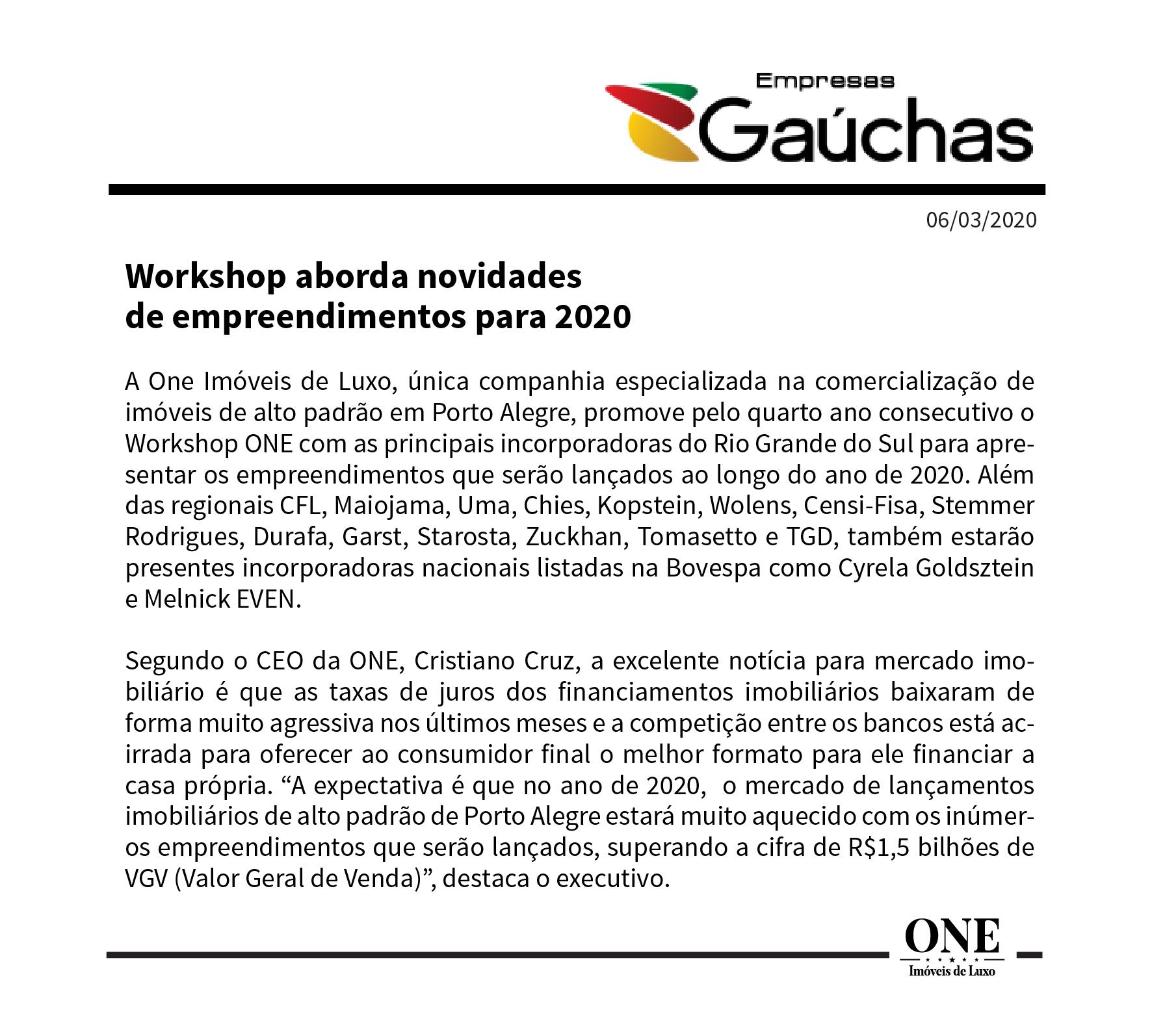 Workshop aborda novidades de empreendimentos para 2020