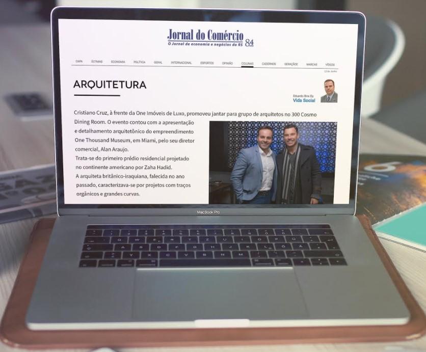 Jantar exclusivo para arquitetos recebe nota no Jornal do Comércio.