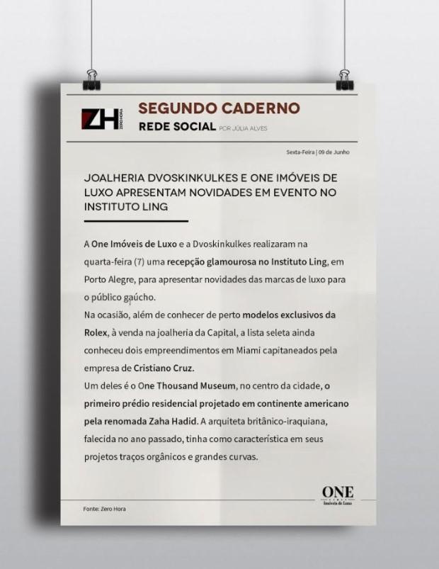 Destaque na Zero hora - One Imóveis de Luxo e Dvoskinkulkes