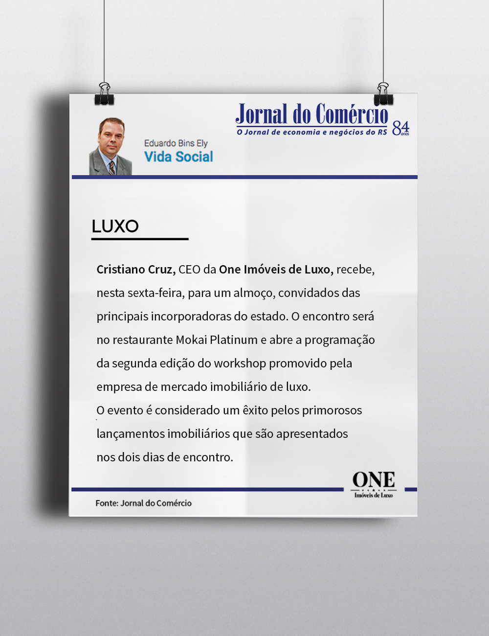Almoço promovido pela One Imóveis de Luxo recebe destaque no Jornal do Comércio