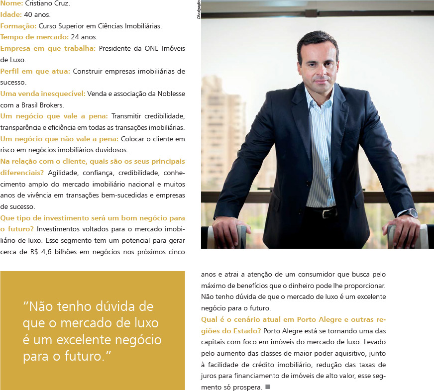 Entrevista do presidente da ONE na revista ImóvelClass.