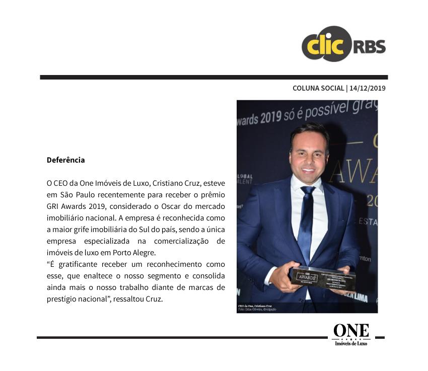 ONE Imóveis de Luxo é vencedora na categoria melhor campanha publicitária no GRI Awards.