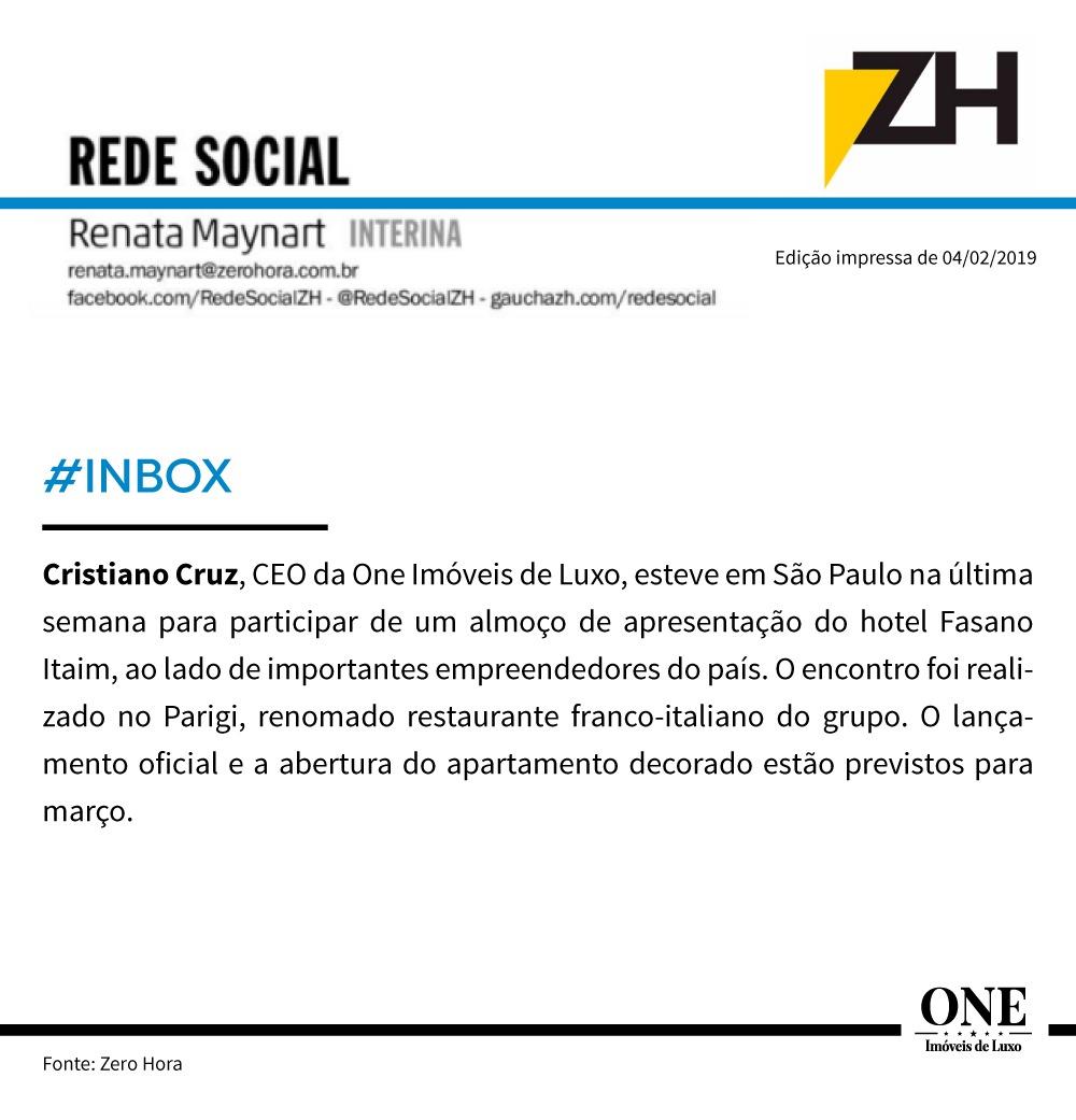 Cristiano Cruz participa de pré lançamento do novo Hotel Fasano em SP.