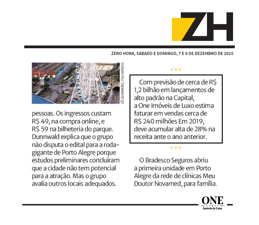 ONE Imóveis de Luxo estima faturar R$ 240 milhões em vendas.